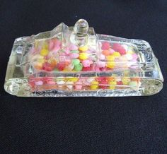 Victory Glass Miniature War Tank Candy Container w. Candy & Label from 20th Century Lost & Found on rubylane