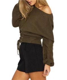Choies Women's Casual Lace-up Front Rib Knitted Junior Sweater - Army Green - Clothing, Sweaters, Pullovers Lace Sweater, Green Lace, Sweater Fashion, Pulls, Rib Knit, Sweaters For Women, Clothes For Women, Army Green, Women's Casual