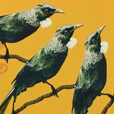 Original artwork SOLD, digital design & painted acrylic on canvas, 1230 x Explore the story of the artwork >> Print sizes and editions (limited to Regular archival paper - 57 Maori Art, Artwork Prints, Pet Birds, New Zealand, Original Artwork, Pop Art, Museum, Moon, Canvas