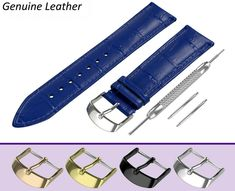 STRAP FOR SEIKO WATCHES. BLUE crocodile leather pattern strap made of high quality genuine calf leather in classic padded design. Rolex Blue, Seiko, Hugo Boss, Fossil, Omega, Breitling Watches, Leather Pattern, Band, Rotary