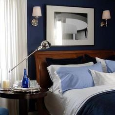 Starry Night Blue on the guest bedroom walls of David Jimenez, a VP at Hallmark.