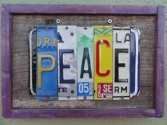 Peace License Plate Sign