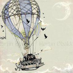 Steampunk Art Print -  7x7 Hot Air Balloon  - giclée  Fine Art PRINT -  grey blue pale green black dusty - Fairy Tale Art by the Filigree