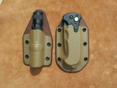Dark earth kydex torch and folding pocket knife holsters