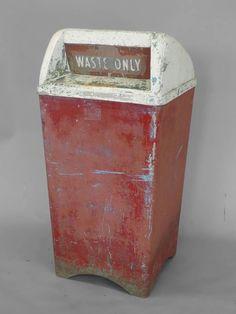 Large Moderne Cast Aluminum Waste Basket Or Trash Can