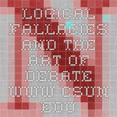 Logical Fallacies and the Art of Debate www.csun.edu
