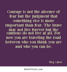 courage is not the absence of fear but the judgement that something else is more important than fear. The brave may not live forever but the cautious do not live at all. For now, you are traveling the road between who you think you are and who you can be.