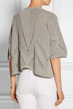 Helmut Lang|Cropped knitted linen-blend sweater|NET-A-PORTER.COM