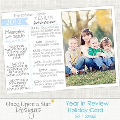 5x7 Year in Review Holiday Card  by OnceUponaStarDesigns on Etsy, $5.00