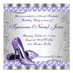 Elegant Purple High Heels Womans Birthday Party Personalized Invites
