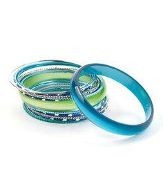 Look what I found on #zulily! Blue & Green Seaside Bangle Set by Kada Jewelry #zulilyfinds