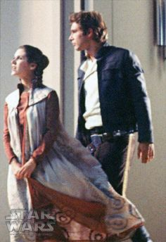 Carrie Fisher and Harrison Ford on the Cloud City set.