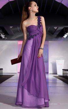 A-line one-shoulder Purple long bridesmaid dresses UK