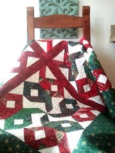 "Christmas quilt for beginners.  ""if you make a mistake but can't see it while riding past it on a galloping horse, then it's good enough."""