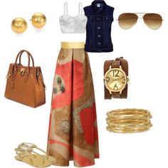 """""""Maxi skirt casual outfit idea! :) by VR"""" by velkis-rios on Polyvore"""