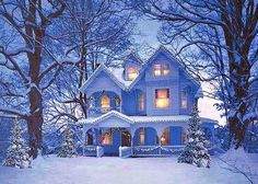 Gorgeous Light Blue Victorian Decorated with Lights lights outdoors winter snow house victorian christmas christmas pictures christmas decorations outdoor christmas decorations Christmas Scenes, Blue Christmas, Country Christmas, Winter Christmas, Christmas Home, Winter Snow, Christmas Lights, Cottage Christmas, Winter Magic