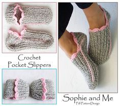 Crochet Pocket Slippers. One pair for everyone!