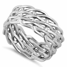 NEW Sterling Silver Wide Weaved Ring $25 DL-SRP1641 *8.5mm width *available in whole sizes 4-10 www.facebook.com/groups/jewelrybycara