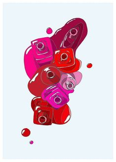7 Red Nail Polishes- would be great next to the lipsticks...