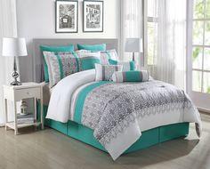 10 Piece Queen Luna Teal/Gray/White Reversible Comforter Set