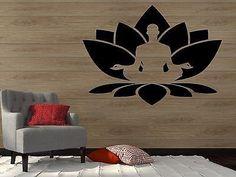 Wall Vinyl Sticker Decal Lotus Flower Seated Buddha Meditation Yoga Studio z2910