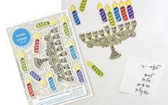 Refrigerator Magnets of Hannukia & Candles for the Jewish Holiday of Hanukkah