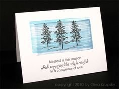 A simple, beautiful card. Background is made by dragging 2 colors of Distress Ink across paper.