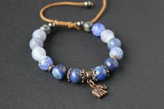 Blue bracelet shamballa Frosted agate beads Blue by TanBorzoShop