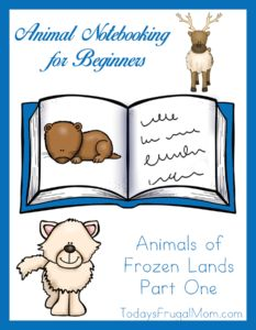 Animal Notebooking for Beginners–Animals of Frozen Lands, Pt. 1. The next stop in our exploration of animals through beginning copywork and notebooking are the frozen lands of the arctic, Antarctica, and the tundra. This fun 18-page printable introduces children to the Arctic fox, the lemming, and the caribou. There is easy, beginning copywork in a large, traceable font for each animal as well as an illustration of the animal and a coloring page.