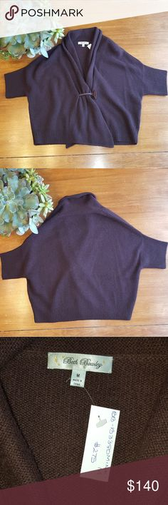 """Beth Bowley cashmere short sleeve cardigan NWT Beth Bowley 100% cashmere cardigan in """"mink"""". Short sleeved, toggle button, rolled collar. Would make some lucky woman a great Christmas gift! Beth Bowley Sweaters Cardigans"""