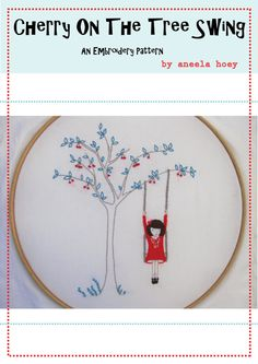 Cherry on the tree swing - Embroidery pattern PDF on Etsy, $5.10