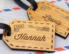 Couples des étiquettes à bagages, étiquette de bagage personnalisé, étiquette de bagage en bois, étiquettes à bagages, étiquettes de bagage personnalisé, cadeau de voyage, cadeau année Gap