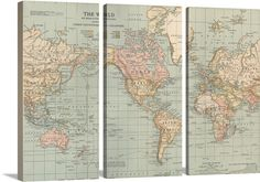 Large vintage world map art from GreatBIGCanvas.com