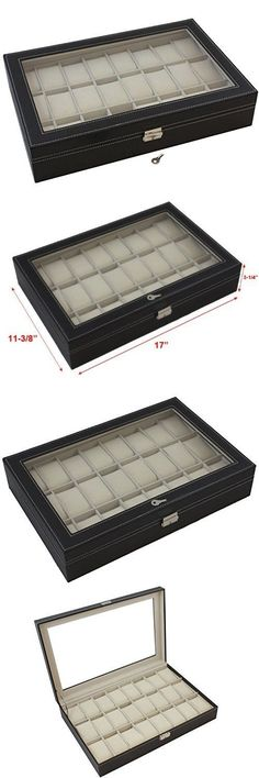 Watch 168164 Large 20 Slot Wood Watch Box Display Case Organizer