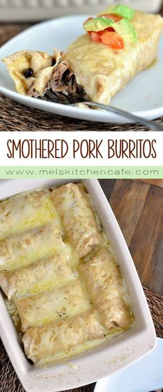 Sweet Pork Burritos These smothered pork burritos are simple, uncomplicated and delicious.These smothered pork burritos are simple, uncomplicated and delicious. I Love Food, Good Food, Yummy Food, Mexican Dishes, Mexican Food Recipes, Mexican Drinks, Dinner Recipes, Vegetarian Mexican, Mexican Desserts
