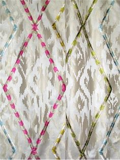 """Diamond District Toast - Clarence House Fabric pattern produced by Braemore Textiles. Beautiful & soft ikat jacquard fabric with viscose embroidery. Perfect for window treatments, light use furniture upholstery or bedding. Content; 83% poly / 17% viscose. Repeat; V 15.7"""" x H 25.5"""".54"""" wide."""