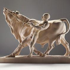 """Bull and a Man"" by Giuseppe Rumerio---some days I definitely feel like that bull!!"
