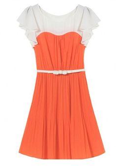 Orange Color Block Ruffle Puff Sleeve Chiffon Dress