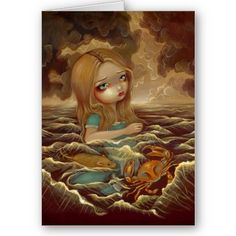 """""""Alice in the Pool of Tears"""" Greeting Card"""