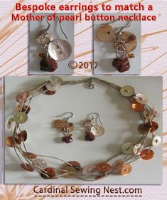 Mother of pearl buttons and semi precious stones earrings