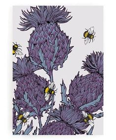 A modern re-think of the classic Scottish icon, the thistle. In soft, heathery tones of blue, lilac and purple, this print will add some contemporary Scottish vibes to your home. #Scotland #GillianKyle #GiftIdea #Wildlife #ChristmasGift