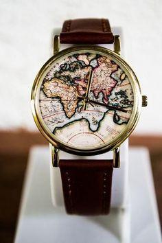 Vintage Wanderlust Map Watch