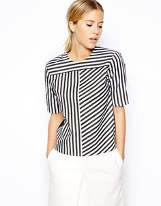 Sail To Sable Women's Stripe Blouse - Navy - Xl Kurti Neck Designs, Blouse Designs, Simple Tunic, Blouse Simple, Sewing Blouses, Asos Tops, Beautiful Blouses, One Piece Dress, Blouse Dress