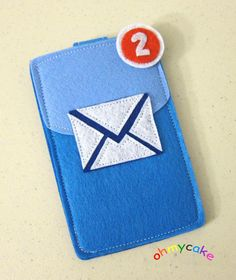 "iPhone Case - Cell Phone Case - iPhone 4 Case - iPod Case - iPod Touch Case - Handmade iPhone Felt Case - "" Email icon "" Design. $19.00, via Etsy."