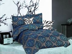 7-PC-Bedding-in-a-bag-Luxury-Paisley-Zebra-Embroidery-QUEEN-Blue-Comforter