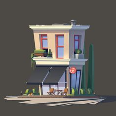 Having fun with painting the little cafe:D
