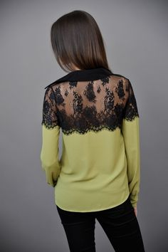 "green blouse + black lace back. ""these are a few of my favorite things"" :)"