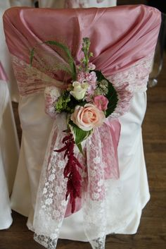 Vintage Lace Chair Dressing Posy of fresh Flowers