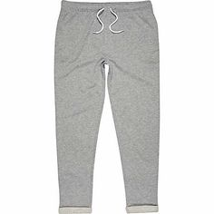 Grey marl rolled up slim joggers - joggers - men