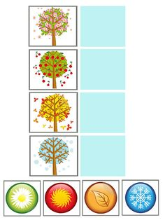 (2015-08) Årstider Month Weather, Weather For Kids, Weather Seasons, Seasons Of The Year, Four Seasons, Games For Kids, Activities For Kids, Tree Study, Elementary Art